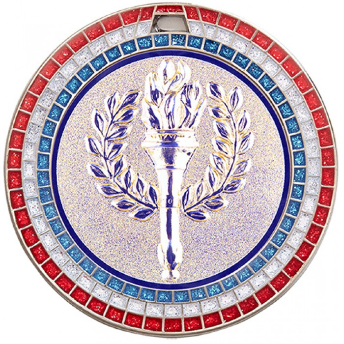 70MM VICTORY TORCH RWB GEM MEDAL - SILVER
